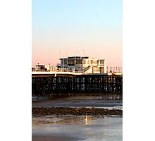 Worthing Pier Pink Sunset Photographic Print