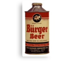 Vintage Burguer beer can. Canvas Print