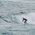 Surfing Newcastle Beach by Bev Woodman