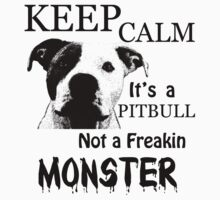 keep calm its a pitbull not a freakin monster Kids Clothes