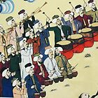 Janissary band performing, 	Ottoman painting by cascoly