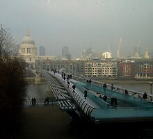 Millenium Bridge and St. Paul's Cathedral by Kathleen Conklin