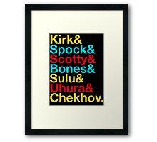 STAR TREK ORIGINAL  Mr. Spock Captain Kirk Uhura Sulu Mr. Chekhov Dr. Bones McCoy  Framed Print