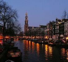 Nightfall at the Prinsengracht by jchanders
