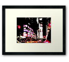 New York City Broadway at night Framed Print