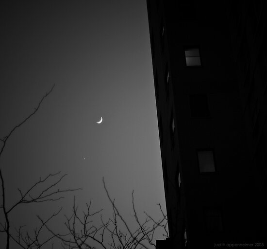 Moon Over Manhattan BW by Judith Oppenheimer