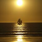 Golden Silhouette of a Pearl Lugger - Cable Beach by Richard Cassar