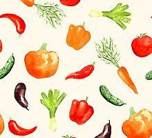 Watercolor vegetables pattern by gleolite
