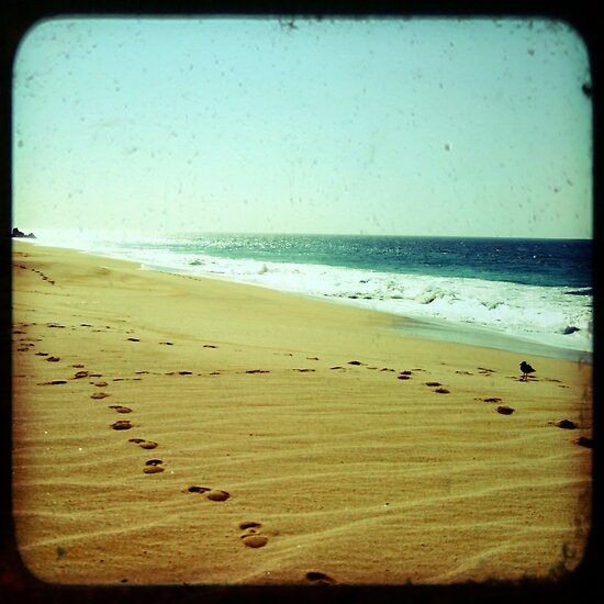 Footprints in the sand, summer beach photo print, green ocean waves dreamy, Mexico travel photography, Jesus religious biblical wall art by moderatefanatic