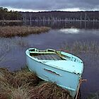 Dingy on Bradys Lagoon, Tasmania, Australia by Michael Morffew