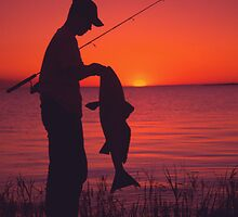 SUNSET REDFISH by Earle Waters