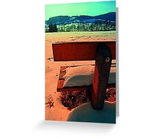 Enjoy the winter sun on a bench | landscape photography Greeting Card