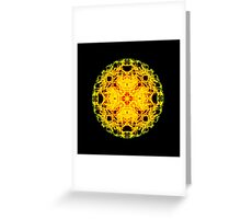 """""""Spirit of India: Cross-Column - Circle"""" in grass green and yellow Greeting Card"""