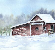 Horse Barn in Snow Storm by LinFrye