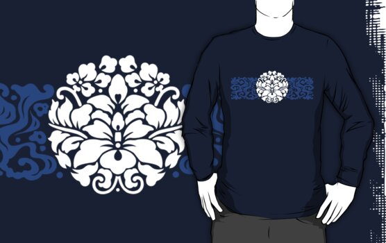 Japanese Style Lotus Crest with Waves by mingtees