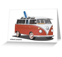 23 Window Split VW Bus Red with Surfboard Peace Greeting Card