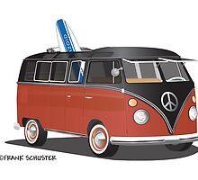 Hippie Split Window VW Bus Red Black & Surfboard by Frank Schuster