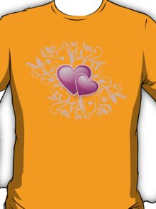 Valentine Decorative T-shirt - Two Hearts, Two Souls on Pink T-Shirt