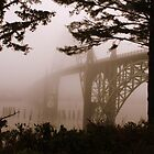 Yaquina Bay Bridge in the fog , Newport, Oregon by aussiedi