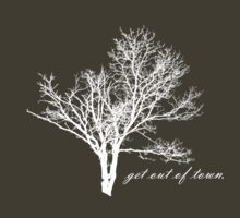 the 'get out of town' spook tree WHITE on DARK by Tiffany Atkin
