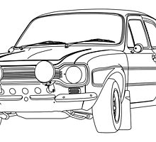 1970 Ford Escort RS2000 Fast and Furious Paul Walker's car Black Outline no fill. by Adamasage