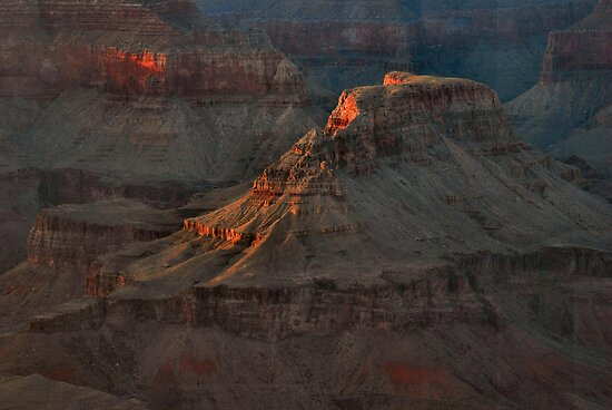 Temple At Sunset -  Grand Canyon by Stephen Vecchiotti