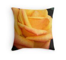 Yellow blushing rose Throw Pillow