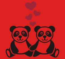 Panda love red hearts Kids Clothes