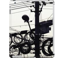Black and white street photography print, Shanghai high speed urban development lamp post wires, vintage editorial China travel photography iPad Case/Skin