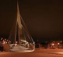 L'Esplanade Riel Walking Bridge by Vickie Emms