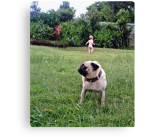 The Pug and Her Boy Canvas Print
