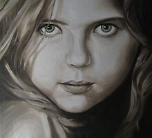 Portrait of Little Girl with Green Eyes by Noewi