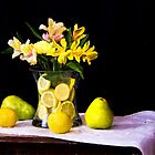 Peruvian Lilies With Lemons And Pears by daphsam
