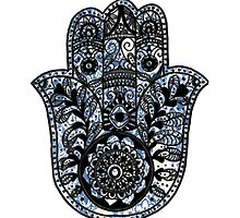 Blue and White Pattern Hamsa by foreversarahx