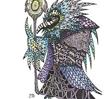 Watercolor and Ink Totem Bird (World of Warcraft) by Ibubblesart