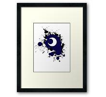 Lunar Splat (black paint, white background) Framed Print