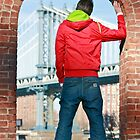 Boy looking at Manhatten bridge NYC by timokohlenberg