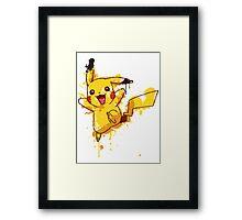 Pikachu Splatter Framed Print