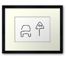 sign for cow Framed Print