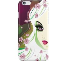 Floral Girl with White Hair 2 iPhone Case/Skin