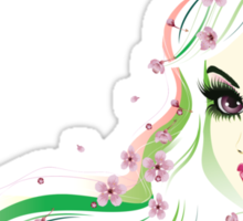 Floral Girl with White Hair 4 Sticker