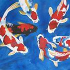 Koi carp watercolour painting by coolart