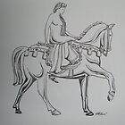 Lady Godiva line drawing pen and ink by coolart