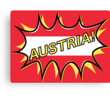 "Comic book ""KA-POW"" style Austrian flag  Canvas Print"