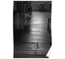 The Old Wood Floor In The Old Book Store (black & white) Poster
