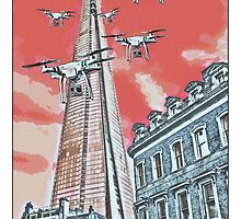 Drones leave the Shard nest in red by #fftw by Tim Constable