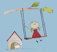 Little girl swinging with pup gazing by maiboo
