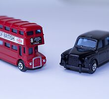 London Routemaster Bus And London Black Cab by Claire Doherty