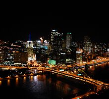 Beautiful Downtown Pittsburgh at Night by polylongboarder