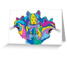 an experiment in colourful cats Greeting Card